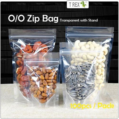 100pcs O/O Transparent Airtight Seal Zip Bag with Stand Up Pouch