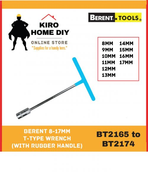 BERENT 8-17mm T-Type Wrench (With Rubber Handle)  - BT2165/ BT2166/ BT2167/ BT2168/ BT2169/ BT2170/ BT2171/ BT2172/ BT2173/ BT2174
