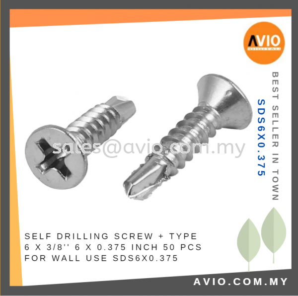 Self Drilling Screw + Type 6 x 0.375 Inch 6x0.375 6 X 3/8¡¯¡¯ 50 PCS Metal Surface Electrical and Construction SDS6X0.375 CABLE / POWER/ ACCESSORIES Johor Bahru (JB), Kempas Supplier, Suppliers, Supply, Supplies | Avio Digital