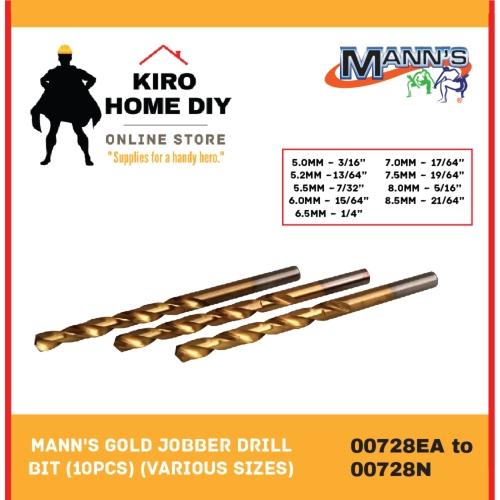 MANN'S   5.0mm - 8.5mm Gold Jobber Drill Bit (10 PCS) - 00728EA/ 00728F/ 00728G/ 00728H/ 00728IA/ 00728JA/ 00728L/ 00728M/ 00728N