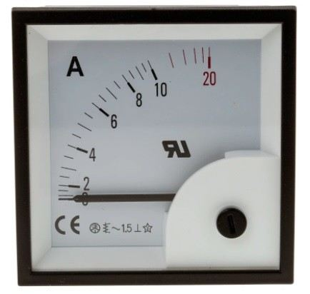 901-0346 - RS PRO Analogue Panel Ammeter 10A AC, 68mm x 68mm, ±1.5 % Moving Iron