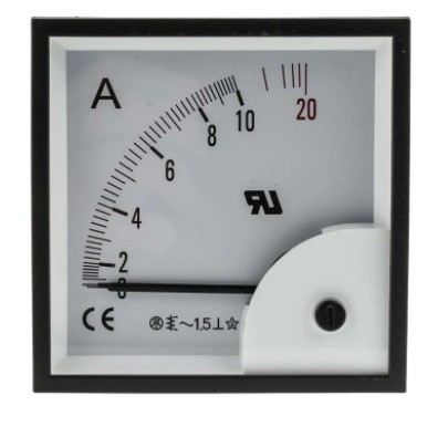 901-0356 - RS PRO Analogue Panel Ammeter 10A AC, 92mm x 92mm, ±1.5 % Moving Iron