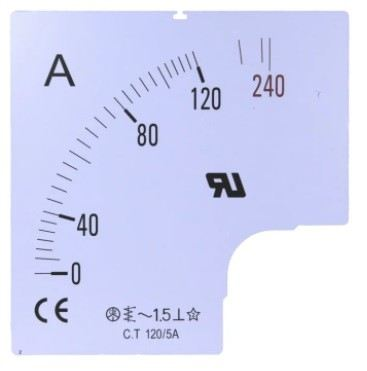 901-0501 - RS PRO Meter Scale, 500A, for use with 96 x 96 Analogue Panel Ammeter