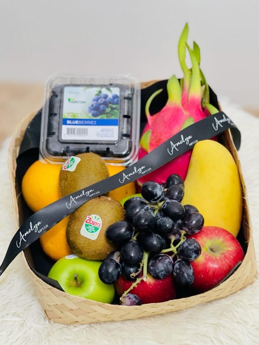 Rainbow Vitamin Fruits with Handmade Rattan Basket