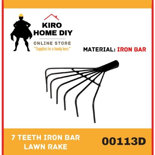 7 Teeth Iron Bar Lawn Rake - 00113D