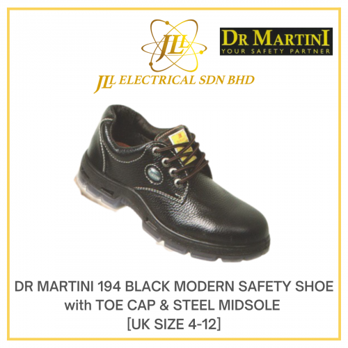 DR MARTINI 194 BLACK MODERN SAFETY SHOE with TOE CAP & STEEL MIDSOLE [UK SIZE 4-12]