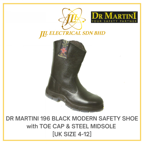 DR MARTINI 196 BLACK MODERN SAFETY SHOE with TOE CAP & STEEL MIDSOLE [UK SIZE 4-12]