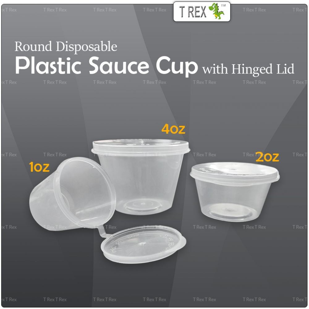 Round Disposable Plastic Sauce Cup with Hinged Lid