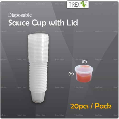 20pcs Disposable Plastic Sauce Cup / Round Food Container with Lid