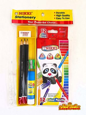 NIKKI STATIONERY SET 9IN1 WITH COLOUR PENCIL
