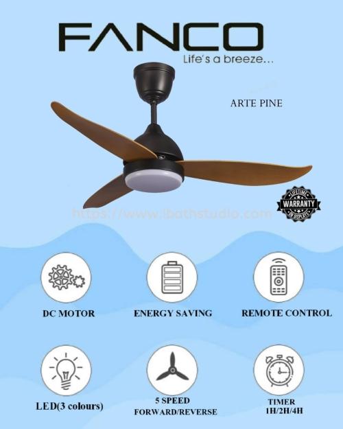 """Fanco Arte F1311 36""""/46""""/52"""" Pine DC Motor Ceiling Fan"""