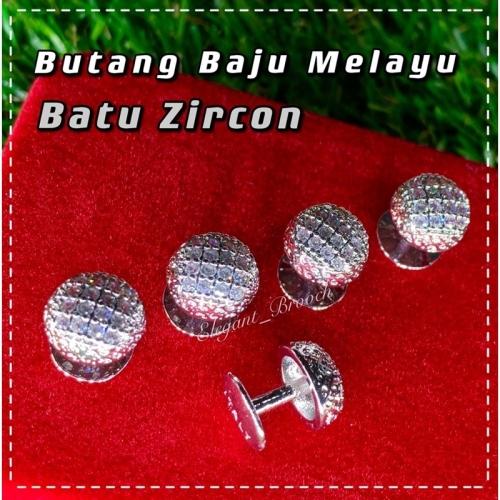 Elegant Brooch 1Set [FREE BOX] Eksklusif Butang Baju Melayu Nikah Batu Zircon Muslimin Butang Baju Lelaki -BTCZ03