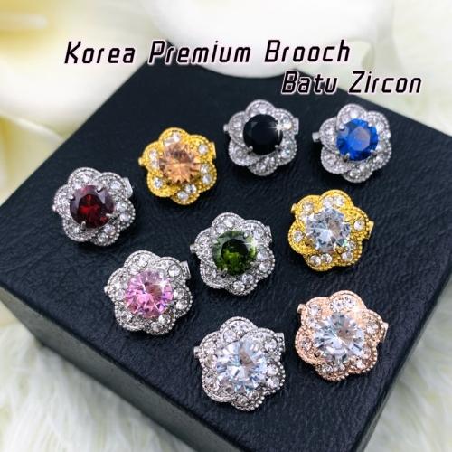 Elegant Brooch Korea 1pc Premium Brooch Batu Zircon Kerongsang Tudung Pin Tudung Brooch Pin Hijab Kerongsang-CZ752