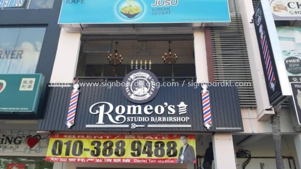 romeos barbershop hairshop aluminium ceiling trism casing 3d led frontlit lettering logo signage signbaord at klang kuala lumpur shah alam puchong kepong subang damansara ALUMINIUM CEILING TRIM CASING 3D BOX UP SIGNBOARD Selangor, Malaysia Supply, Manufacturers, Printing | Great Sign Advertising (M) Sdn Bhd