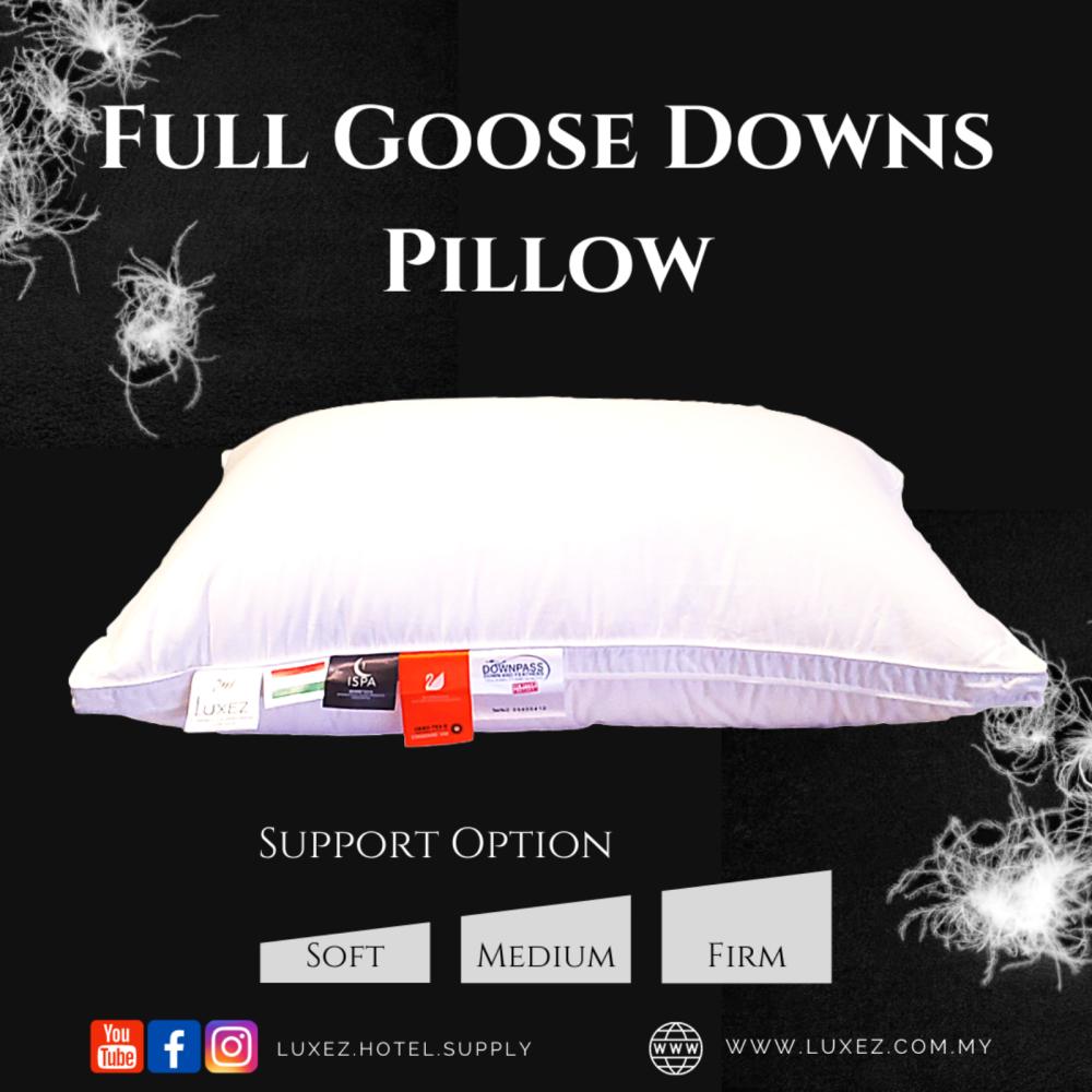 Luxez Full Goose Downs Pillow (Soft / Medium / Firm) - The Cloud Sleeping Series