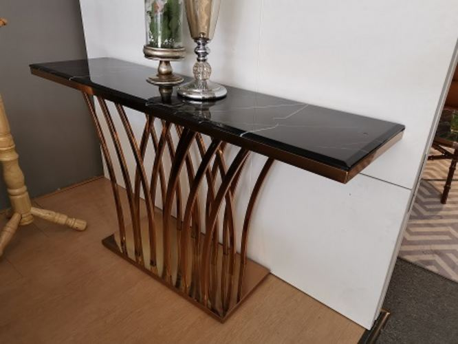 Rose Gold With Marble Top Console Table