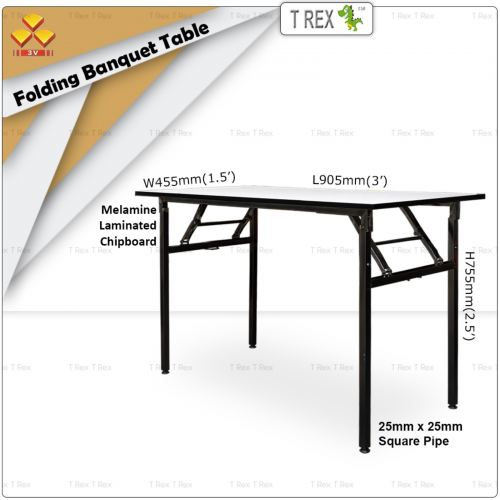 3V 1.5' x 3' Folding Banquet Table with Melamine Laminated Chipboard Table Top