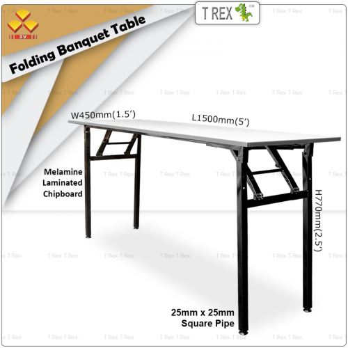 3V 1.5' x 5' Folding Banquet Table with Melamine Laminated Chipboard Table Top