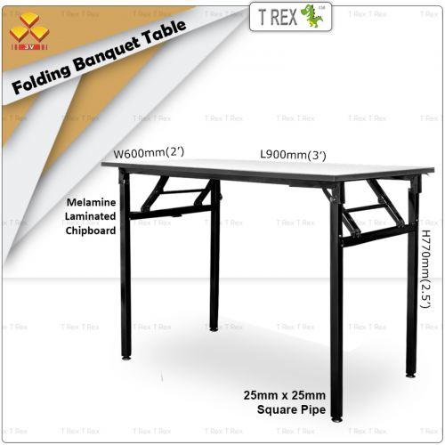 3V 2' x 3' Folding Banquet Table with Melamine Laminated Chipboard Table Top