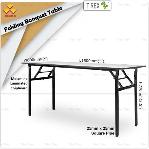 3V 2' x 5' Folding Banquet Table with Melamine Laminated Chipboard Table Top