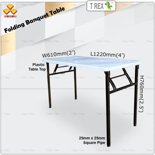 3V 2' x 4' Folding Banquet Table with Plastic Table Top