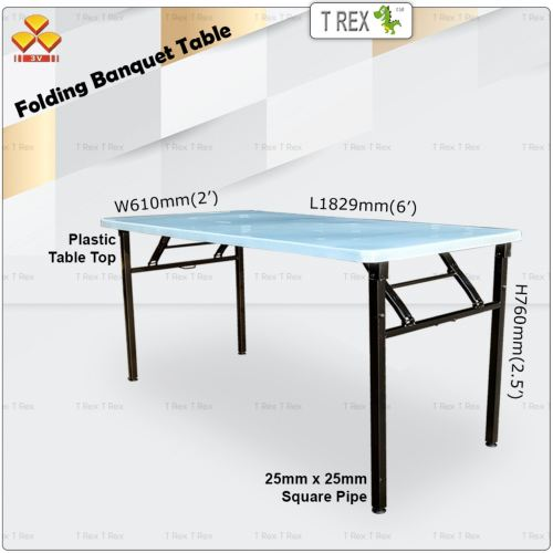 3V 2' x 6' Folding Banquet Table with Plastic Table Top