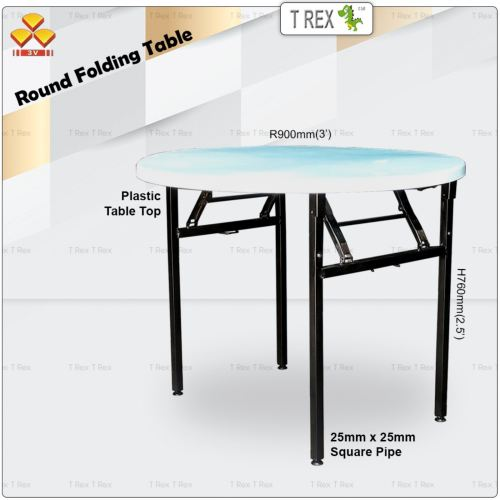 3V 3' Round Folding Banquet Table with Plastic Table Top