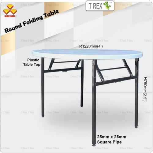 3V 4' Round Folding Banquet Table with Plastic Table Top