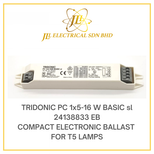 TRIDONIC PC 1x5-16W BASIC SL EB 24138833 COMPACT ELECTRONIC BALLAST FOR T5 LAMPS