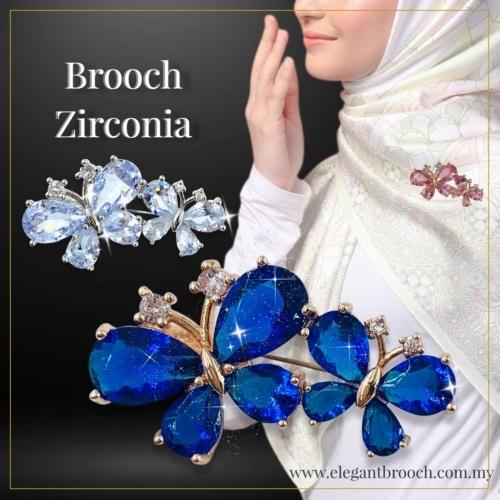 Elegant Brooch 1pc [FREE BOX] Premium Cubic Zirconia Brooch Kerongsang Tudung Pin Tudung Bahu Muslimah Brooch Pin-CZ288