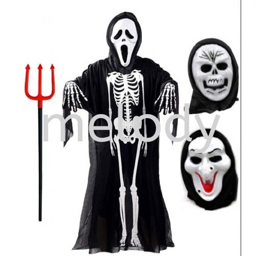 Ghost Mask Witches /  Hantu Topeng / Cosplay long face Halloween / Halloween Weapon Devil Fork