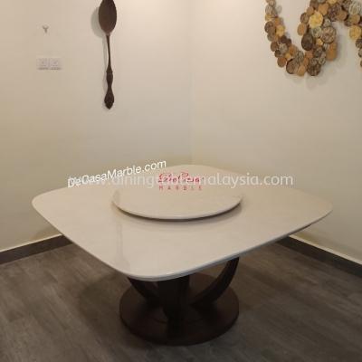 Italian Square Marble Table | Royal Botticino | 8 Seaters