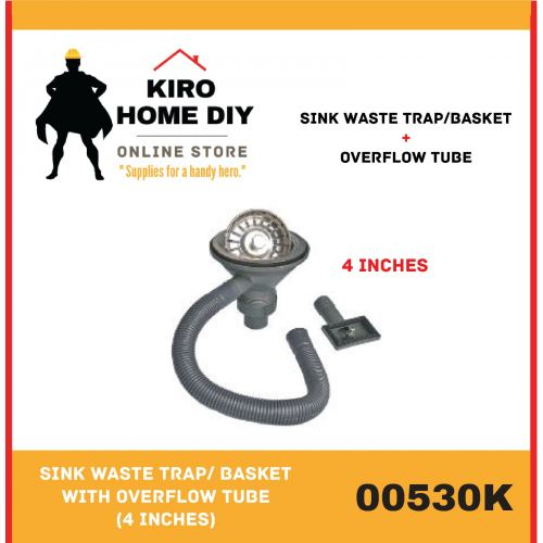 Sink Waste Trap/ Basket with Overflow Tube (4 Inches) - 00530K