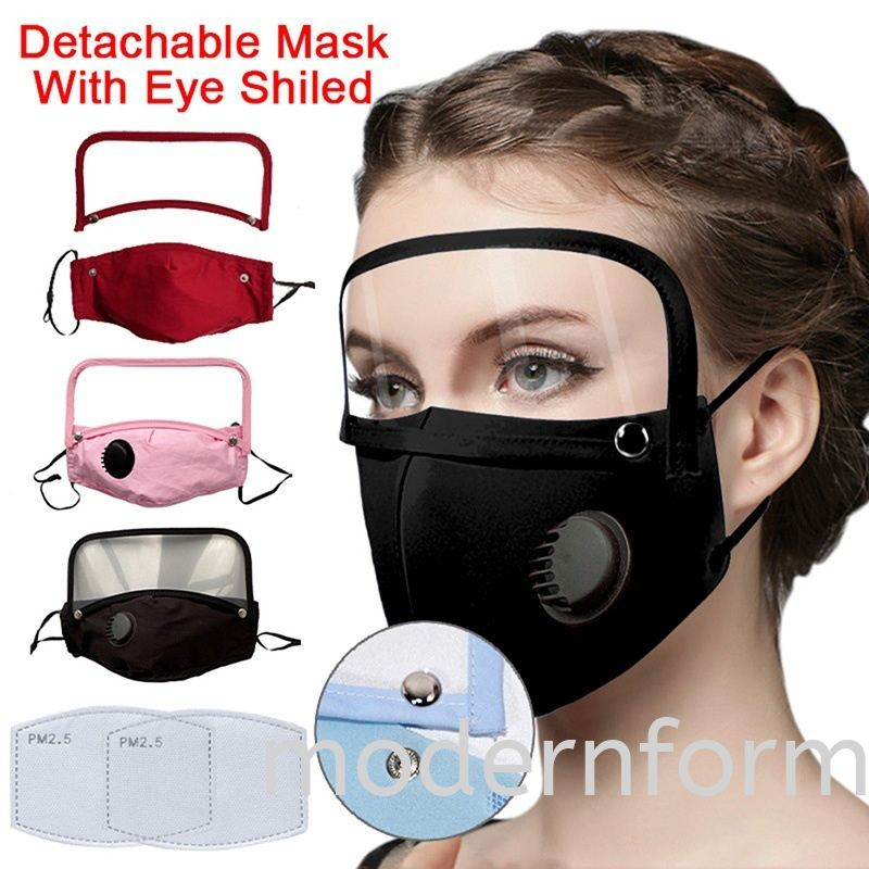 Modernform Adults eye protection, integrated lens, detachable washable breathing valve, dustproof with PM2.5 Filter(#77)
