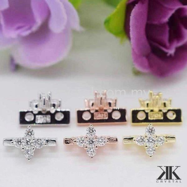 Diverter Flower, Code 0283025, White Gold Plated, 10pcs/pkt Connectors  Jewelry Findings, White Gold Plating Kuala Lumpur (KL), Malaysia, Selangor, Klang, Kepong Wholesaler, Supplier, Supply, Supplies | K&K Crystal Sdn Bhd