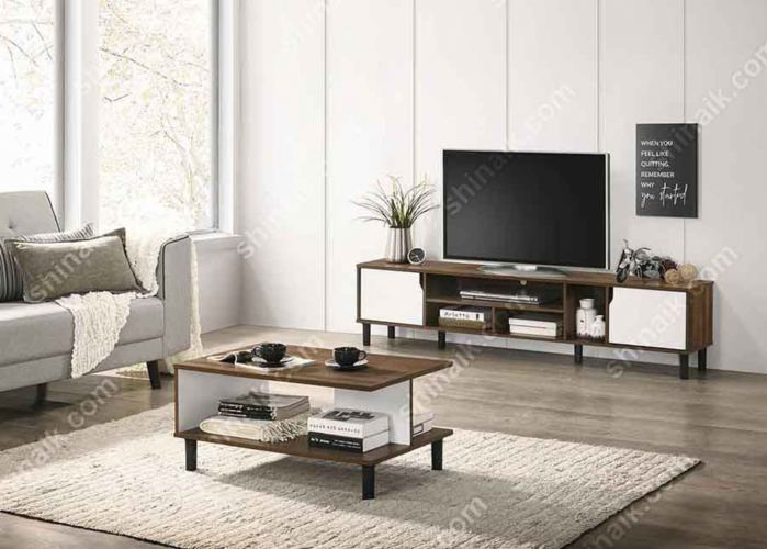 Walnut & White Two-Tone Modern TV Cabinet (6'ft) & Coffee Table - SA63016TV&CT