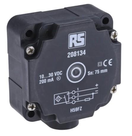 208-134 - RS PRO Inductive Proximity Sensor - Block, PNP Output, 75 mm Detection, IP67
