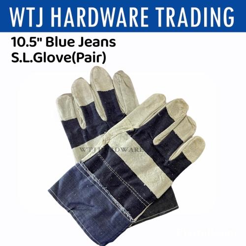 "10.5"" Blue Jean Semi Leather Gloves (1 pair)"