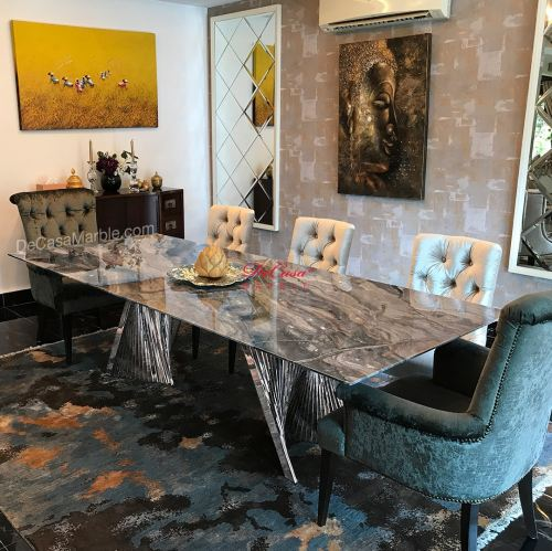 Luxury Italy Marble Dining Table | Arabescato Orobico | 8-10 Seaters