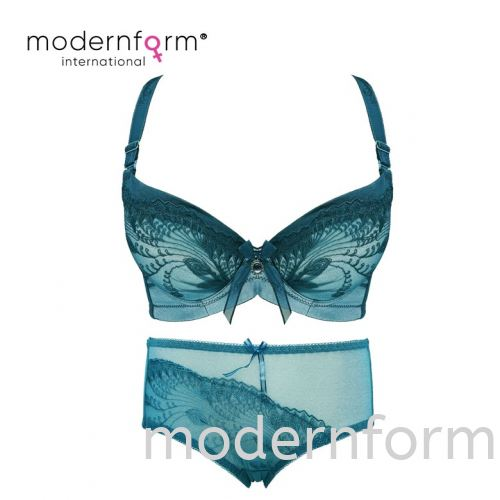 Modernform Sexy Women Floral Design Lace Bra Cup A Push Up with Panties (A032+K032)