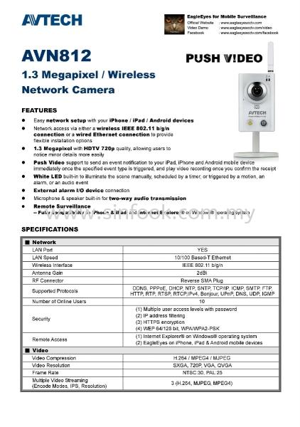 AVN812_spec_Page_1 IP CAMERA CCTV Johor Bahru (JB), Senai, Selangor, Kuala Lumpur (KL), Klang Installation, Services, Repair, Supplier | Sin Fook Electrical Alarm and Auto Gate Sdn. Bhd.