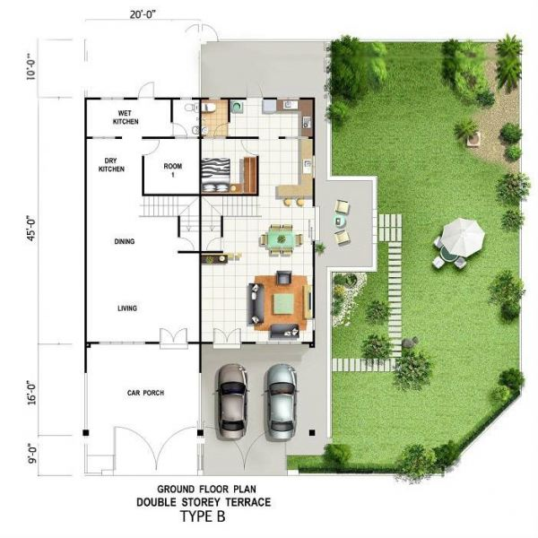 GROUND FLOOR PLAN DOUBLE STOREY TERRACE TYPE B