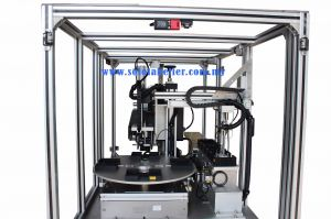 Custom Solo Print & Apply System c/w Rotary Indexer Auto Bag Pick & Paste (Side View)