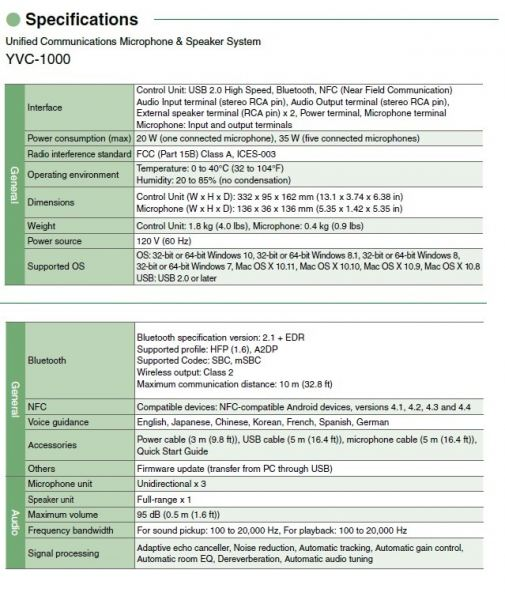 YVC 1000 Specification