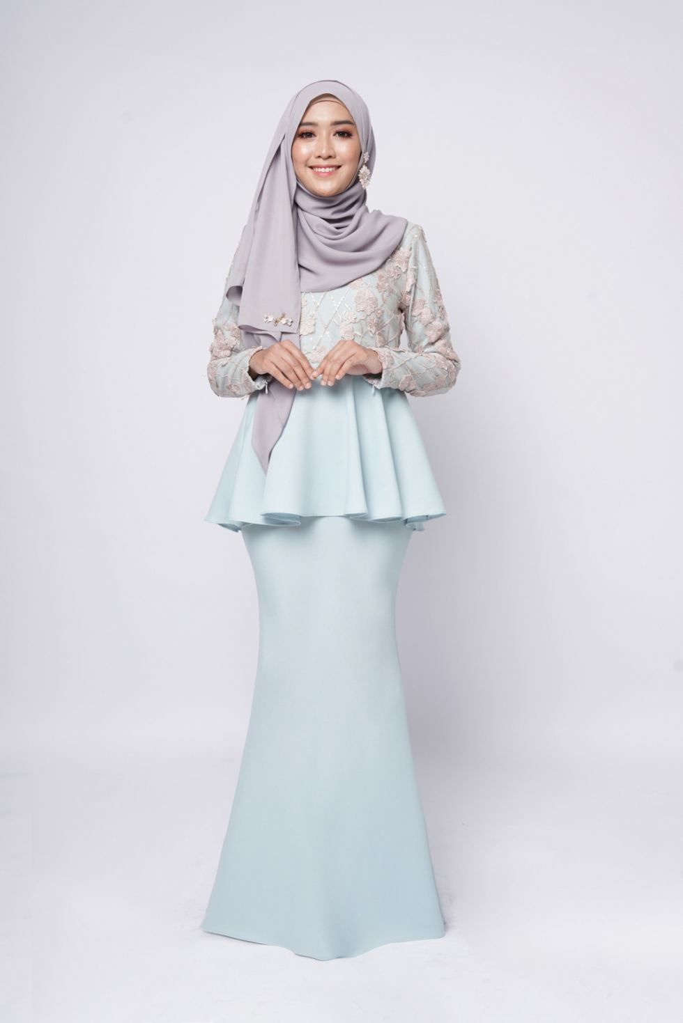 ESTELLE PEPLUM - BLUE MINT PEACH