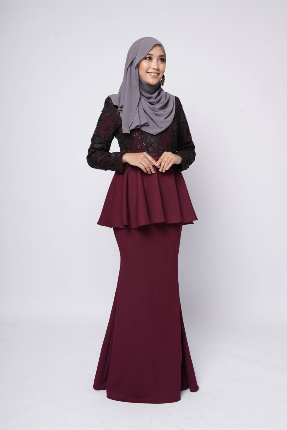 ESTELLE PEPLUM - BURGUNDY BLACK