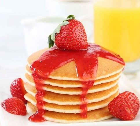 Pancakes with Strawberry Syrup