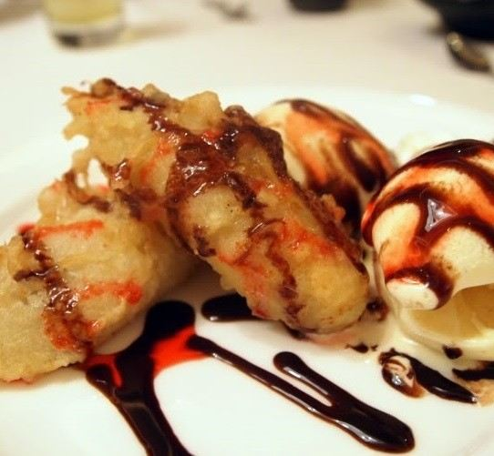 Banana Fritters with Chocolate Syrup