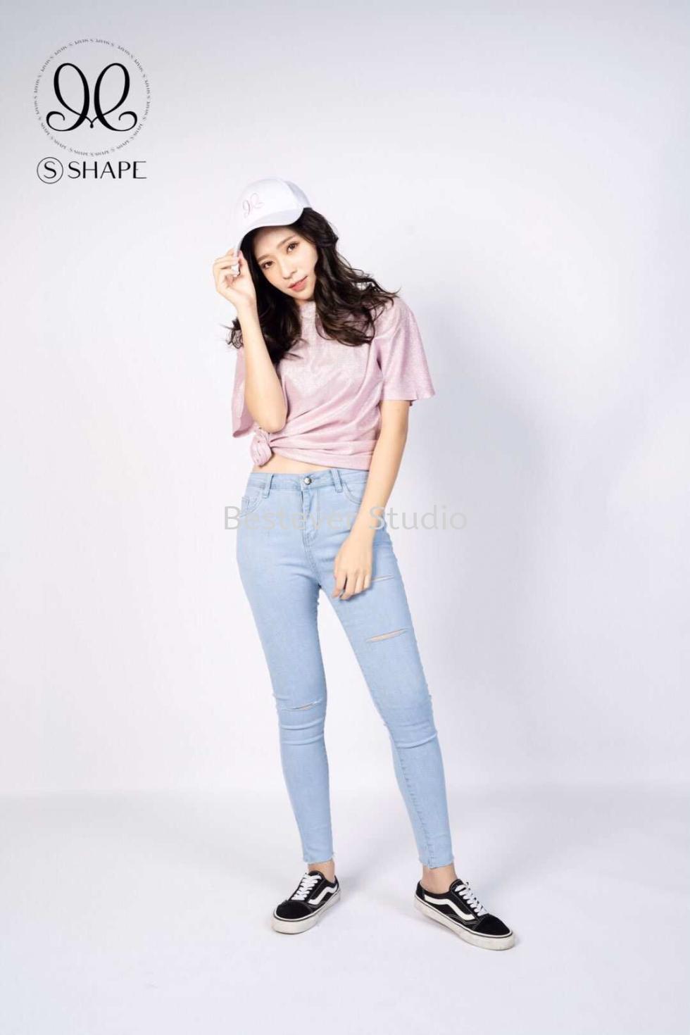 S Shape 弹性显瘦牛仔裤 (破洞款)