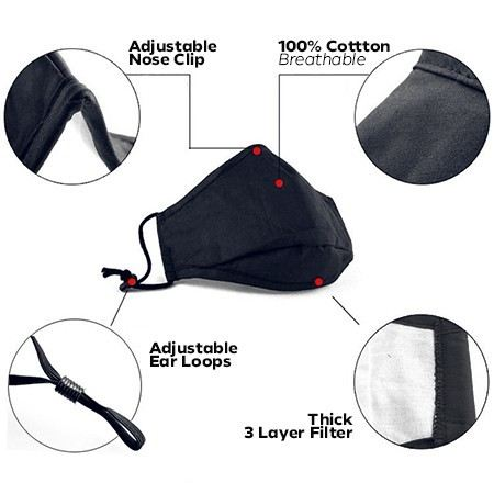 3 Layer Cotton Face Mask - CO 01